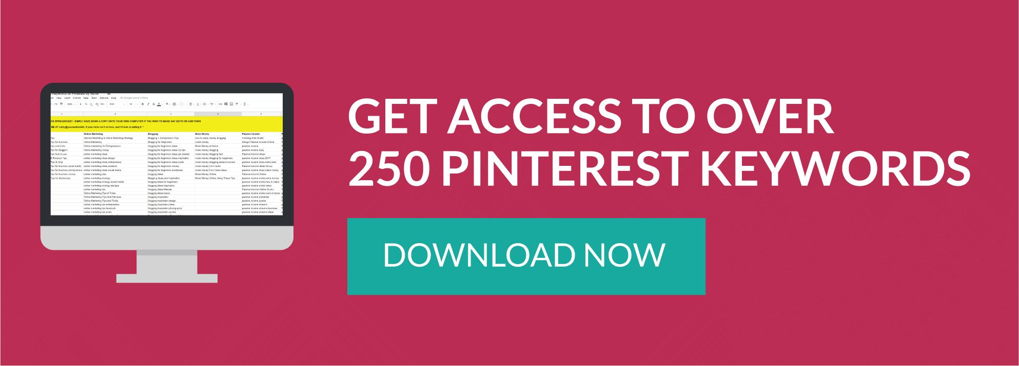 Download over 250 Pinterest Keywords