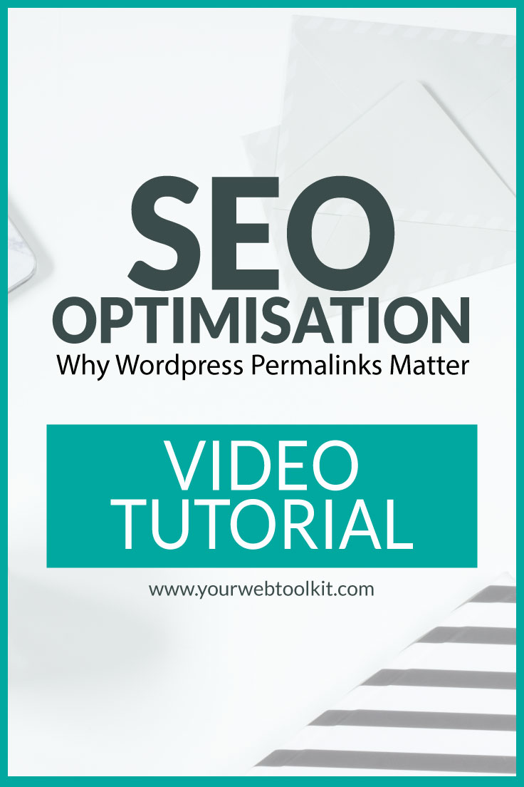 Image with text overlay: SEO Optimsation (WordPress Permalinks)